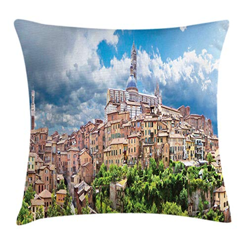 Lunarable Tuscan Throw Pillow Cushion Cover, Historic City Attractive City of Siena Bell Tower Cityscape Fluffy Clouds Clear Sky, Decorative Square Accent Pillow Case, 24 X 24 Inches, Multicolor