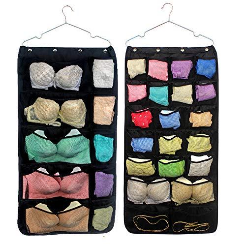 Cymiler Dual-Sided Hanging Closet Organizer Bag 31 Mesh Pockets Storage Bag with Hanger (Black)