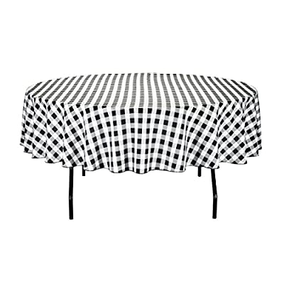 LinenTablecloth 70-Inch Round Polyester Tablecloth Black & White Checker - 70 in. diameter 100% Polyester (Dacron) Serged edges - tablecloths, kitchen-dining-room-table-linens, kitchen-dining-room - 51VURkhbxjL. SS400  -