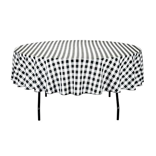 Black And White Checker (LinenTablecloth 90-Inch Round Polyester Tablecloth Black & White Checker)