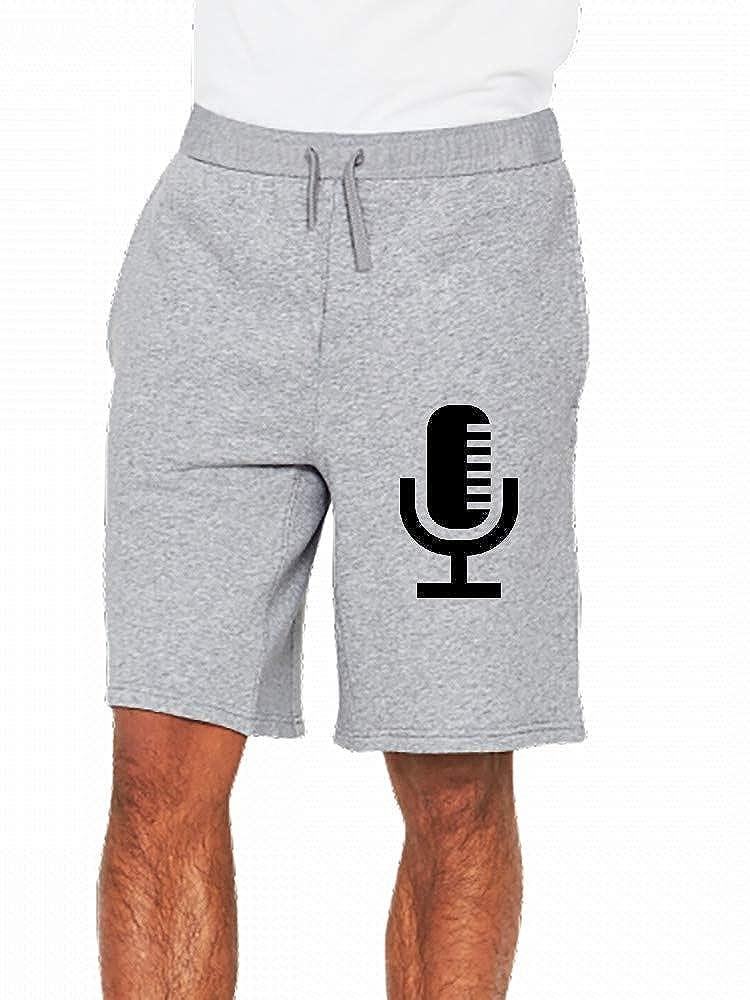 JiJingHeWang Radio Broadcast Microphone Mens Casual Shorts Pants