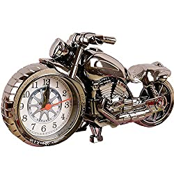 Moolecole Cool Motorcycle Shape Alarm Clock Creative Fashion Personality Home Furnishing (black)