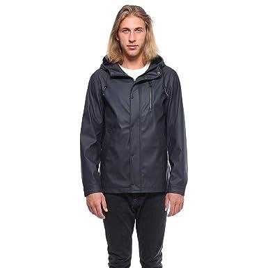 62517b8df Rokka&Rolla Men's Lightweight Waterproof Hooded Rubberized Rain Jacket  Windbreaker Raincoat Parka Anorak