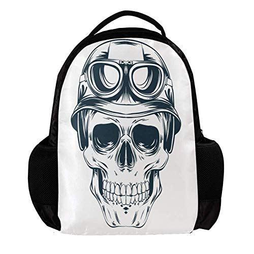 (Skull Pilot gift for kid's Daypack Backpacks,Fashion Travel SchoolBag,laptop Student Bags for Boys or Girls Holds,10.8 x 5 x 15.7 inch)