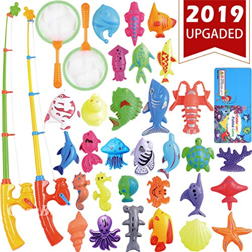 CozyBomB Magnetic Fishing Toys Game Set for Kids Water Table Bathtub kiddie Pool Party with Pole Rod Net, Plastic Floating Fish - Toddler Education Learning all Size Color Ocean Sea Animals 3 Year Old ()