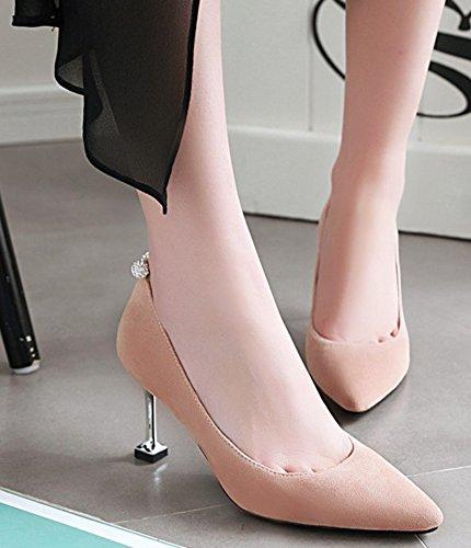 Idifu Vrouwen Sexy Slip Op Lage Top Faux Suede Puntschoen Midden Naaldhakken Pumps Schoenen Roze