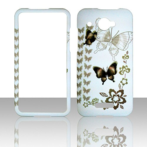 2D Black Butterfly HTC DROID DNA 4G LTE X920E Verizon Hard Case Snap-on Hard Shell Protector Cover Phone Hard Case Case Cover Faceplates