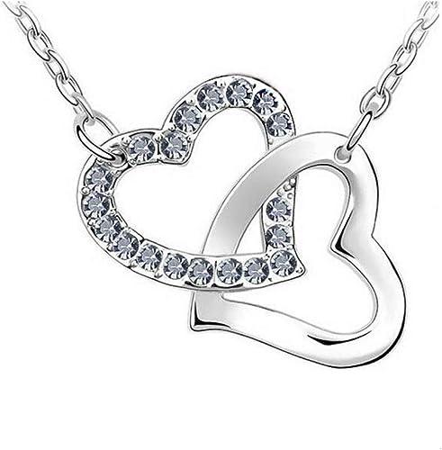 Outletissimo® – Collier femme avec pendentif – Deux cœurs entrelacés –  Argent et cristaux Swarovski
