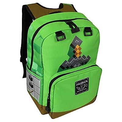 "JINX Minecraft Sword Adventure Kids Backpack (Green, 17"") for School, Camping, Travel, Outdoors & Fun (Green, N/A)"