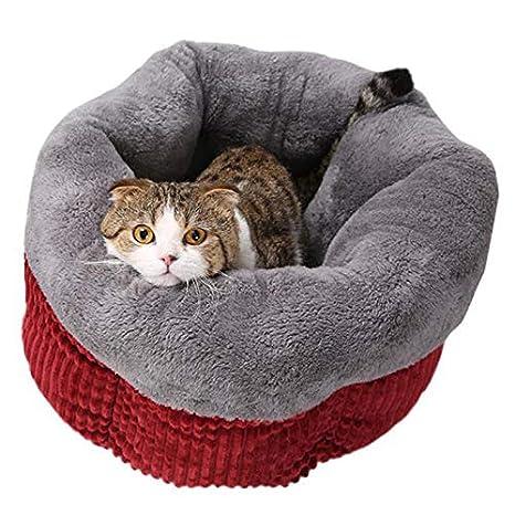 VBFFS Cama para Mascotas Saco De Dormir De Gato, Limpiable Cómodamente Acurrucarse, Adecuado Gatito Y Cachorro para Tu Pet Oferta Cálido(Incluida La Manta) ...