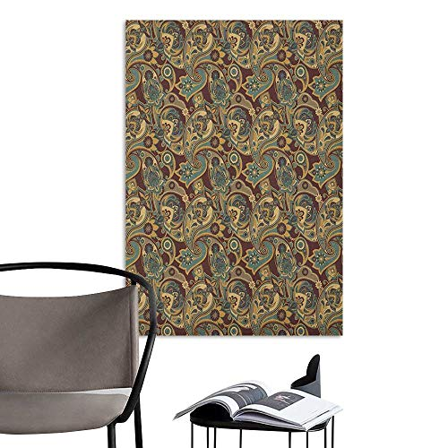 Wall Mural Wallpaper Stickers Paisley Iranian Hippie Themed Spiritual Textured Floral Ornament Persian Artwork Chocolate Sand Brown Girls Bathroom W8 x H10