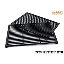 Bar.b.q.s CI66662 Replacement Cast Iron Cooking Grid (Set of 2) For Bakers and Chefs, BBQ Barbecues Galore, Brinkmann, Broil-mate, Charbroil, Capt'n Cook, Charmglow, Grand Hall, Grill Chef, Grill Mate, Grillpro, Members Mark, Sams Club, Sterling & Turbo Gas Grill