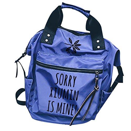 blue Kpop Xiumin Shoulder Bags EXO Messenger set Schoolbag Canvas Backpack Book pencil case Backpack Bag gUwd6Rqx1