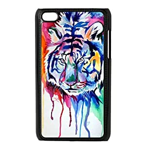 Tiger Painting Custom Cover Case with Hard Shell Protection for Ipod Touch 4 Case lxa849392