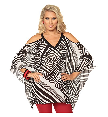 Lior Paris Women's V-Neck Black & White Abstract Stripes Printed Coldshoulder Chiffon Tunic (Print 1,L-XL) ()