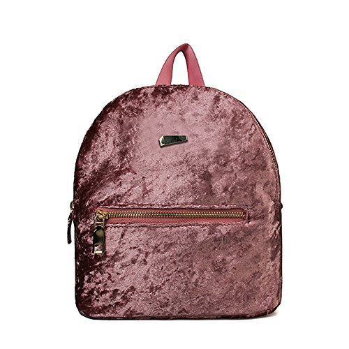 Originaltree Travel Bag Velvet Wine Red Fashion Shoulders Women Backpack Pink for Mini Student School rqvArx0