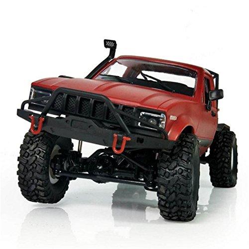 Mini Remote Control Car,TIFENNY 1:16 WPL C14 Scale 2.4G 2CH 4WD Mini Off-road RC Semi-truck RTR Kids Climb Truck(Red) (Red)