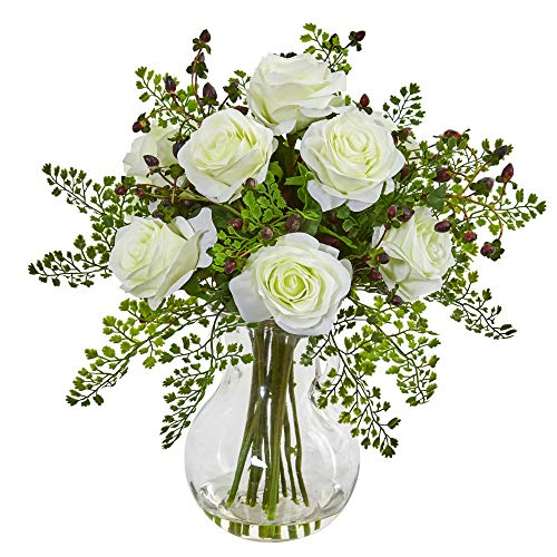 (Nearly Natural 1751-WH Roses & Maiden Hair Artificial Glass Vase Silk Arrangements White)