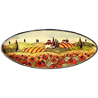 CERAMICHE D'ARTE PARRINI - Italian Ceramic Art Pottery Serving Bowl Centerpieces Tray Plate Hand Painted Decorative Poppies Landscape Tuscan Made in ITALY