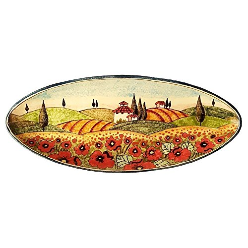 (CERAMICHE D'ARTE PARRINI - Italian Ceramic Art Pottery Serving Bowl Centerpieces Tray Plate Hand Painted Decorative Poppies Landscape Tuscan Made in ITALY)