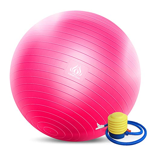 Forbidden Road Exercise Yoga Ball (45CM-85CM, 4 Colors) 400 lbs Anti-Burst Slip-Resistant Yoga Balance Stability Swiss Ball for Fitness Exercise with Free Air Pump (Pink, 2PCS - Diameter: 45-55cm)