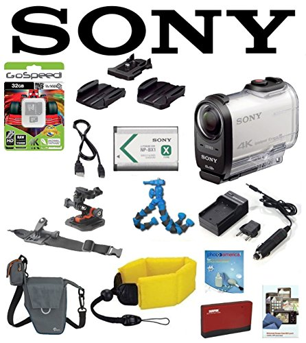 Sony HDRAS200VW w/ Action Pro Series All-In-1 Outdoors Kit, Battery, Flexpod, LowePro Case, Floating Strap, 32GB HDR-AS200VW HDR-AS200V/W AS200 Video Handycam Camcorder