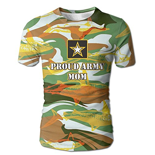 Dongfangzhan Mens 100  Polyester T Shirt Proud Army Mom 3D Full Print Cool Tees Tops