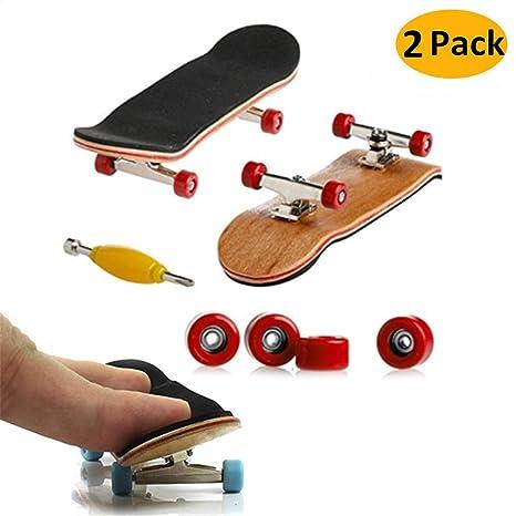 Mini Diapasón, 2 Pack Profesional Dedo Monopatín Maple Wood DIY Asamblea Skateboarding Juguete Juegos Deportivos