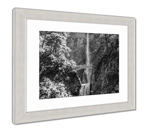 (Ashley Framed Prints Great Multnomah Falls Portland in Oregon USA, Wall Art Home Decoration, Black/White, 30x26 (Frame Size), Silver Frame, AG6503209)