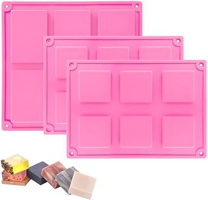 Conjunto de 2 Rectangular de silicona molde para moldes de fabricación de jabón para pastel de hielo de utensilios para hornear