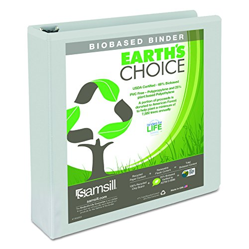 "Samsill 18957 Earth's Choice Biobased Round Ring View Binder, 1.5"" Cap, White"