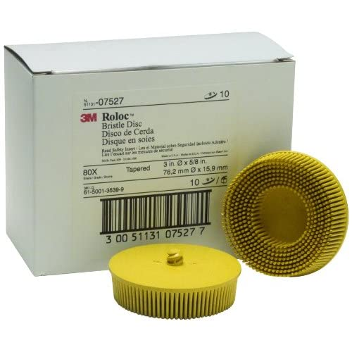 Image of 3M 07527 Roloc Bristle Disc 3' 80 Grade-Yellow, 10 Pack Home Improvements
