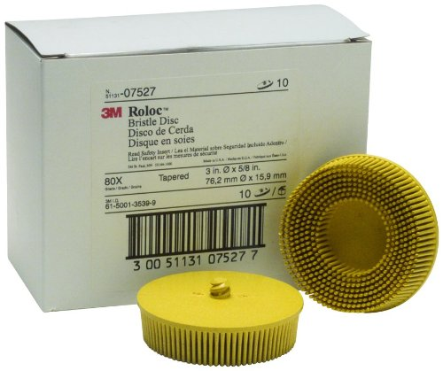 3M 07527 Roloc Bristle Disc 3'' 80 Grade-Yellow by 3M