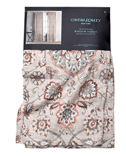 Cynthia Rowley Floral Paisley Scrolls Window Panels Set of 2 Floral Paisley Scrolls Linen Window Curtains Hidden Jacobean Flowers Tabs Turquoise Orange Teal Taupe Beige (52Wx96L) (Beige And Teal Curtains)