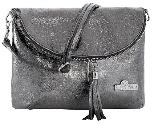 LIATALIA Real Italian Soft Leather Messenger Cross Body Shoulder Bag Mini/Small Size - AMY [Metallic - Grey]