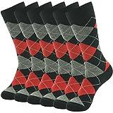 Groomsmen Suit Socks,SUTTOS Men's Fashion Dress Socks Elite Classic Red Grey Black Argyle Plaids Diamond Sharp Designer Cotton Stretchy Mid Calf Long Tube Crew Dressy Socks Gifts Husband,6 Pairs