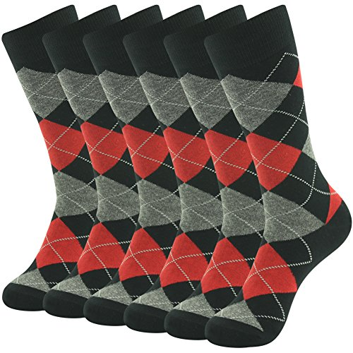 Groomsmen Suit Socks,SUTTOS Men's Fashion Dress Socks Elite Classic Red Grey Black Argyle Plaids Diamond Sharp Designer Cotton Stretchy Mid Calf Long Tube Crew Dressy Socks Gifts Husband,6 Pairs