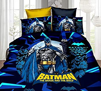 Bhaiji Batman Bedsheet For Double Bed With 2 Pillow Covers