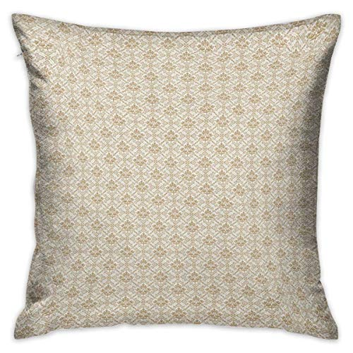 Damask Square Zippered Pillowcase Flower Pattern Inside Ornamental Squares Lines Swirls and Other Geometrical Shapes Ivory Cocoa Cushion Cases Pillowcases for Sofa Bedroom Car W17.7 x L17.7