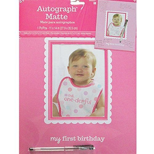 """Amscan 1st Birthday Girl Autograph Photo Matte Party Supplies, 14"""" x 11"""", Pink"""