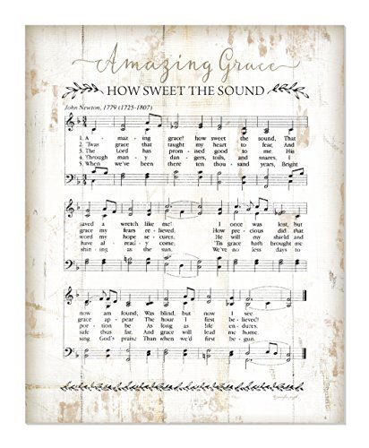 Teisyouhu Wooden Home Sign Amazing Grace Sheet Music Rustic Plaque Hanging Sign Housewarming Gift ()
