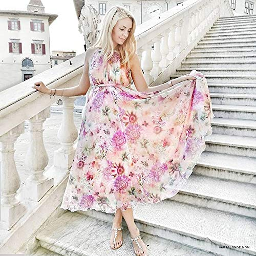 Mint Floral Watercolor Pink Purple Slip Women's Purple Maxi Chiffon Blue Flower Dress Violet Flower Green Chicwish 48gRqxTn