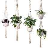 TimeYard Macrame Plant Hangers - 4 Pack, in Different Designs - Handmade Indoor Wall Hanging Planter Plant Holder - Modern Boho Home Decor
