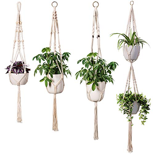 TimeYard Macrame Plant Hangers - 4 Pack, in Different Designs - Handmade Indoor Wall Hanging Planter Plant Holder - Modern Boho Home ()