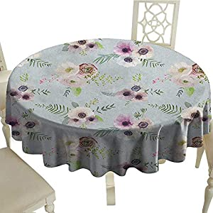 "longbuyer Anemone Flower Dinner Picnic Table Cloth Vintage Bouquets Bridal Corsage Design Shabby Leaves Ranunculus Blossoms Diameter 36"",Suitable for Kitchen, dustproof Desktop Decoration 101"