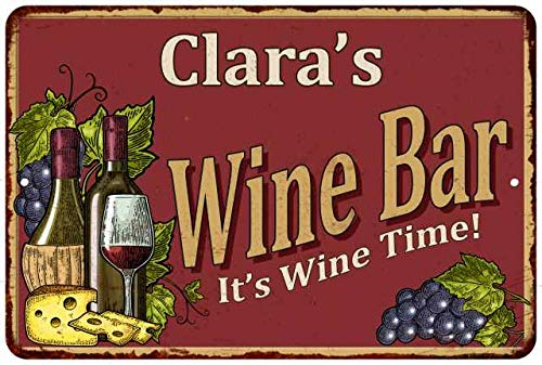 Chico Creek Signs Clara's Red Wine Bar Personalized Metal 12 x 18 Matte Finish Metal 112180054145
