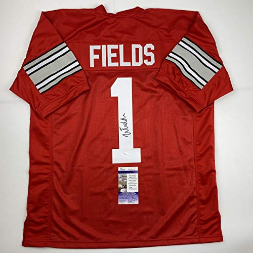 Autographed/Signed Justin Fields Ohio State Red College Football Jersey JSA COA