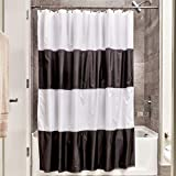 """Black and White Striped Shower Curtain InterDesign Free Fabric Inch, Zeno Water Repellent Shower Curtain, Modern Black & White Stripes, x 72"""" -Mold/Mildew Resistant Design, Standard"""