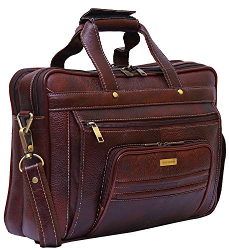 BRAND LEATHER 15 inch Leather Laptop Messenger Bag  Brown