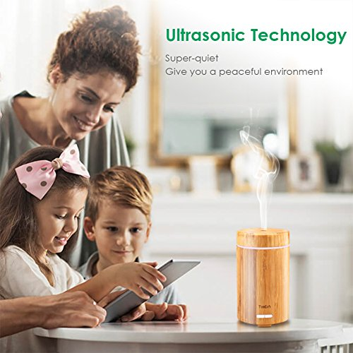 URPOWER Real Bamboo Essential Oil Diffuser Ultrasonic Aromotherapy Diffusers Cool Mist Aroma Diffuser with Adjustable Mist Modes, Waterless Auto Shut-Off, 7 Color LED Lights for Home Office by URPOWER (Image #5)